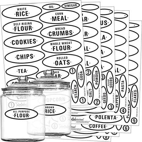 Food Labels Jar Stickers Kitchen Vinyl Decal Sticker Pantry Labels Laundry