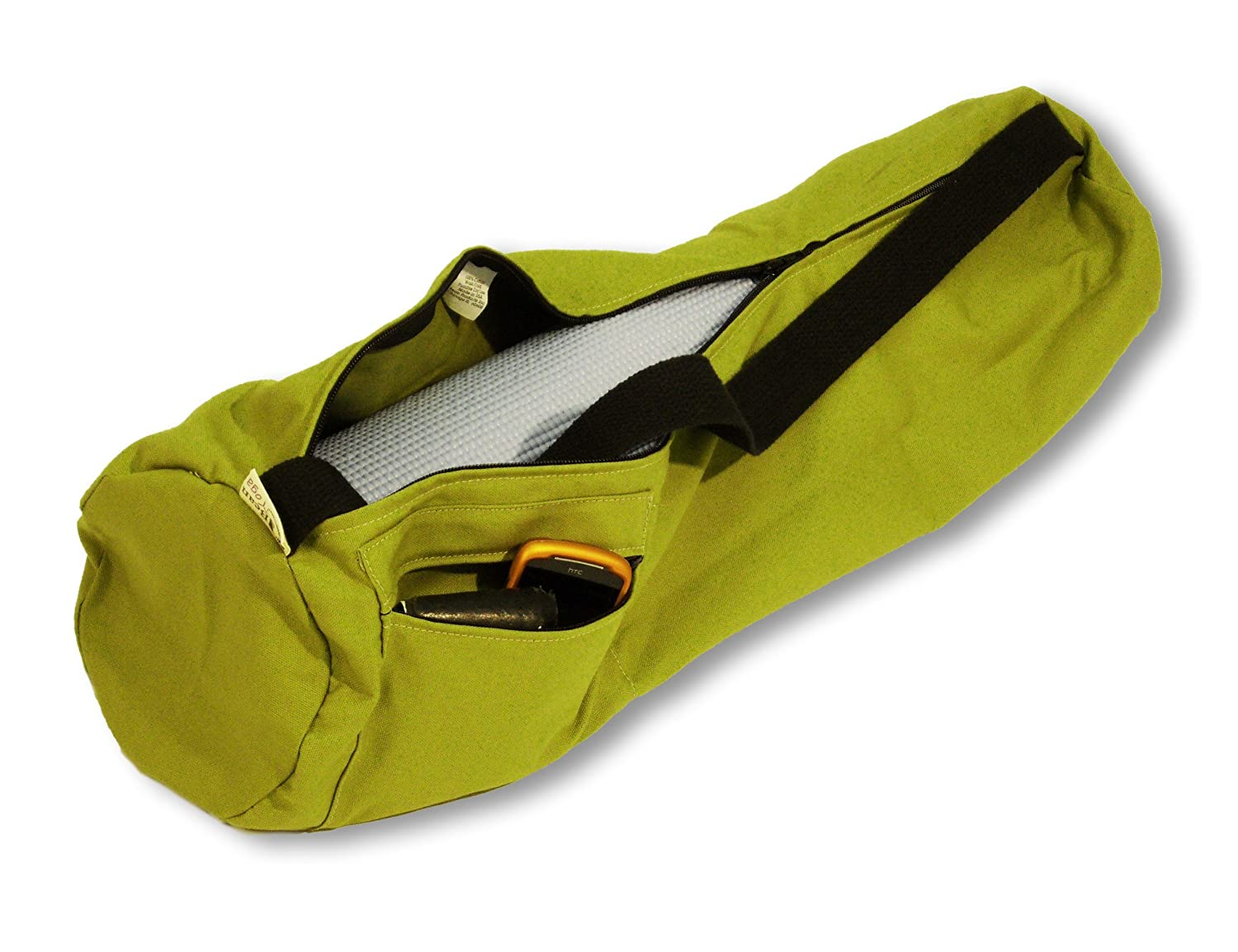 Olive Extra Large  8 x 32 Deluxe Yoga Mat Bag Extra Large Easy Open Zipper Cotton Made USA By Bean Products