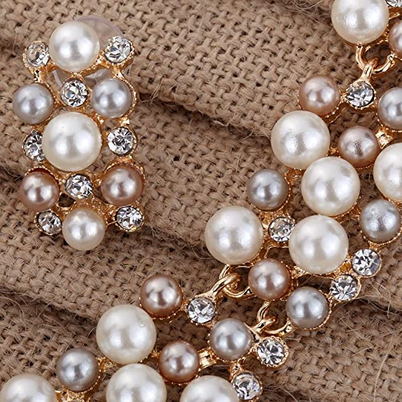 Yazilind Rose Gold Cream Faux Pearl Crystal Collar Chunky Bib Earrings Necklace Jewelry Set fC5e5