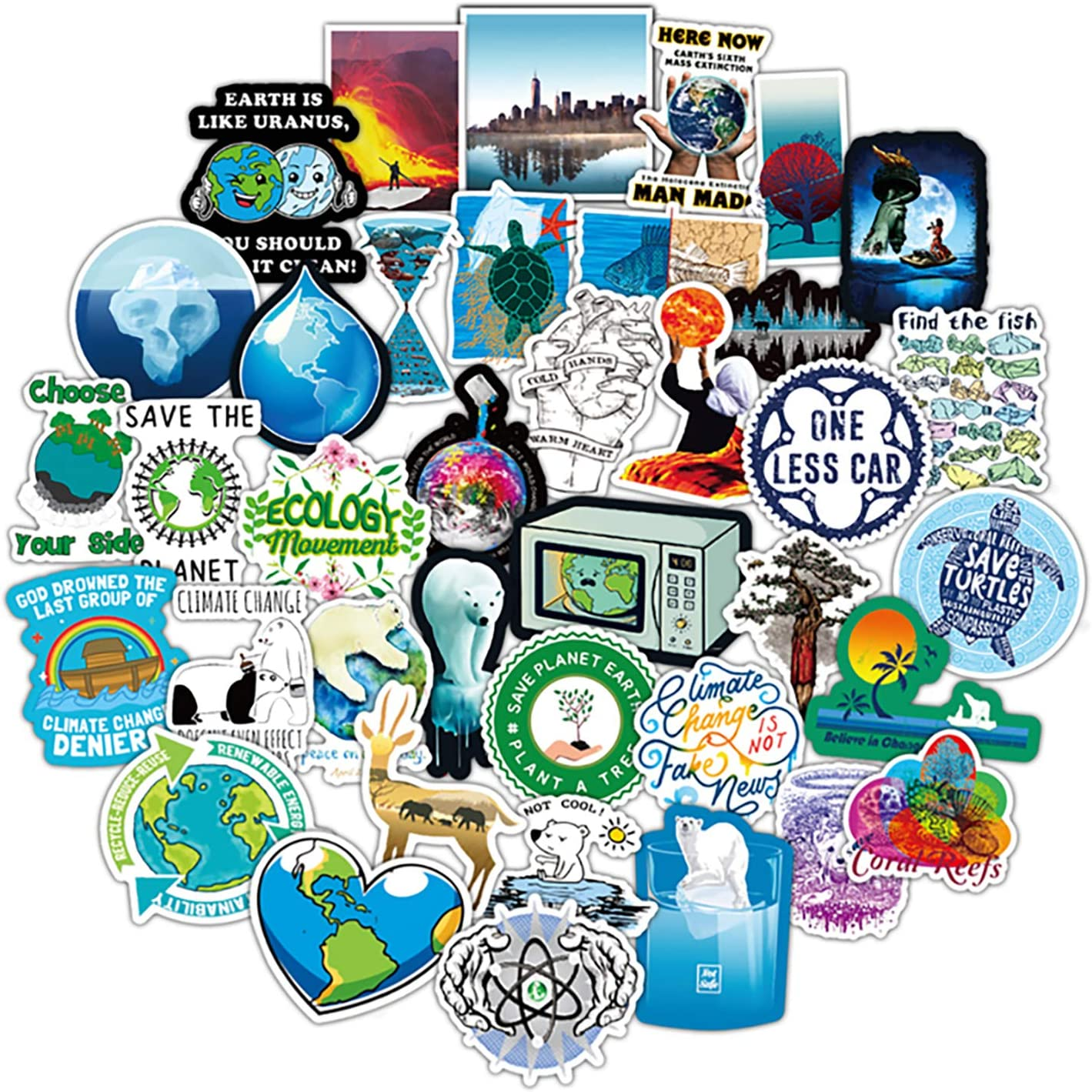 50 Pcs Climate Change Stickers Global Warming Decals for Water Bottle Hydro Flask Laptop Luggage Car Bike Bicycle Waterproof Vinyl Earth Stickers Environmental Protection Stickers Pack