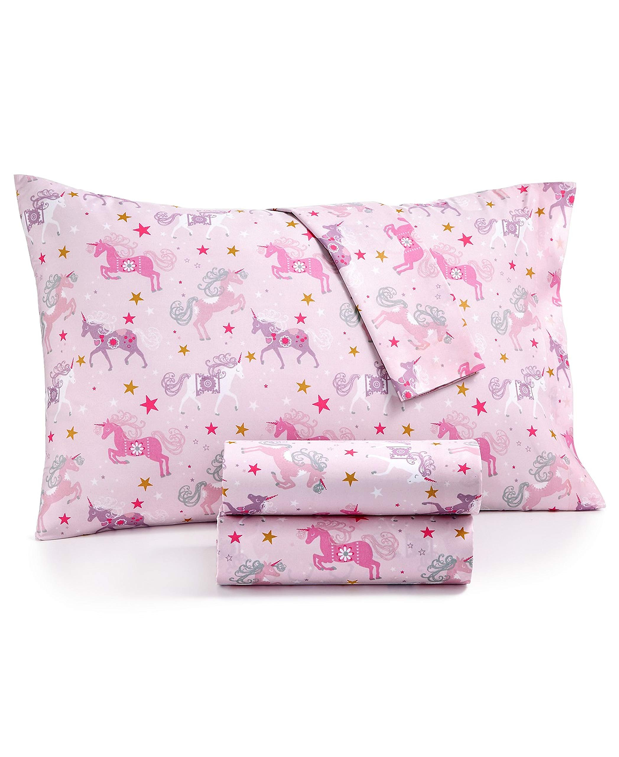 Kids Zone Ornate Pink Unicorn Sheets with Gold and White Star Print Purple and Magenta on Light Pink (Twin)