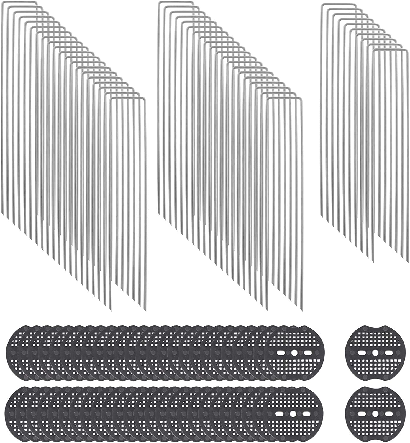 PENCK 8 Inch Garden Staples 11 Gauge Galvanized Landscape Sod Stakes with Plastic Gasket U-Shaped Plant Support Garden Stakes for Weed Barrier Fabric Ground Cover Dripper Irrigation Tubing, 50 Pack