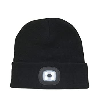 Adults LED Head Torch Beanie Hat (Black)  Amazon.co.uk  Clothing b246ae7ddb66