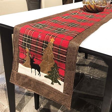 DAPUTOU Camino de Mesa navideño de algodón, para decoración de ...
