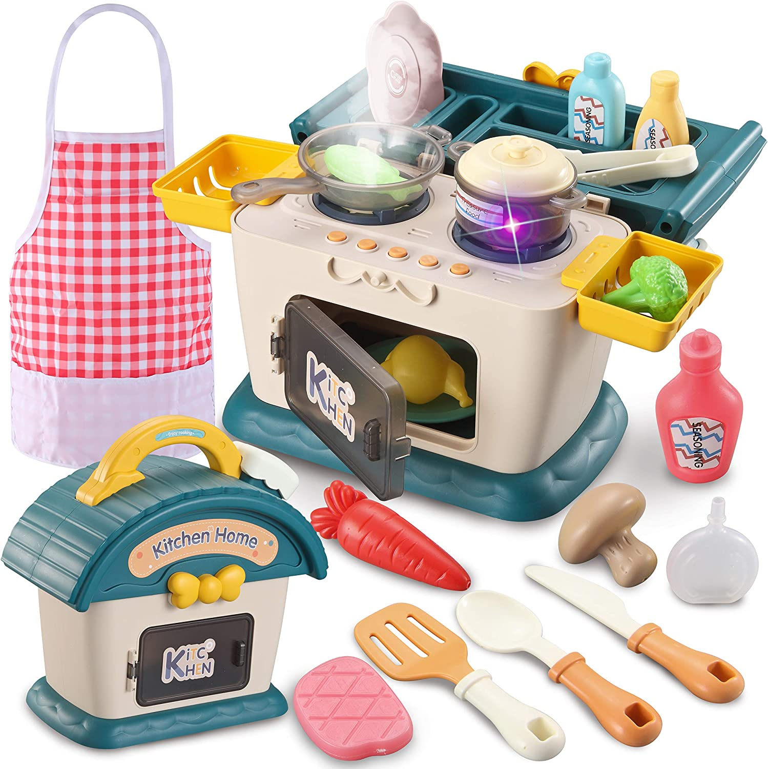 JOYIN 24 pcs Little Kitchen House Play Set Kitchen House Play Toy for Kids with Simulation of Spray, Music & Lights, Color Changing Play Food Kitchen Toy Sets Gift for Kids Boys Girls