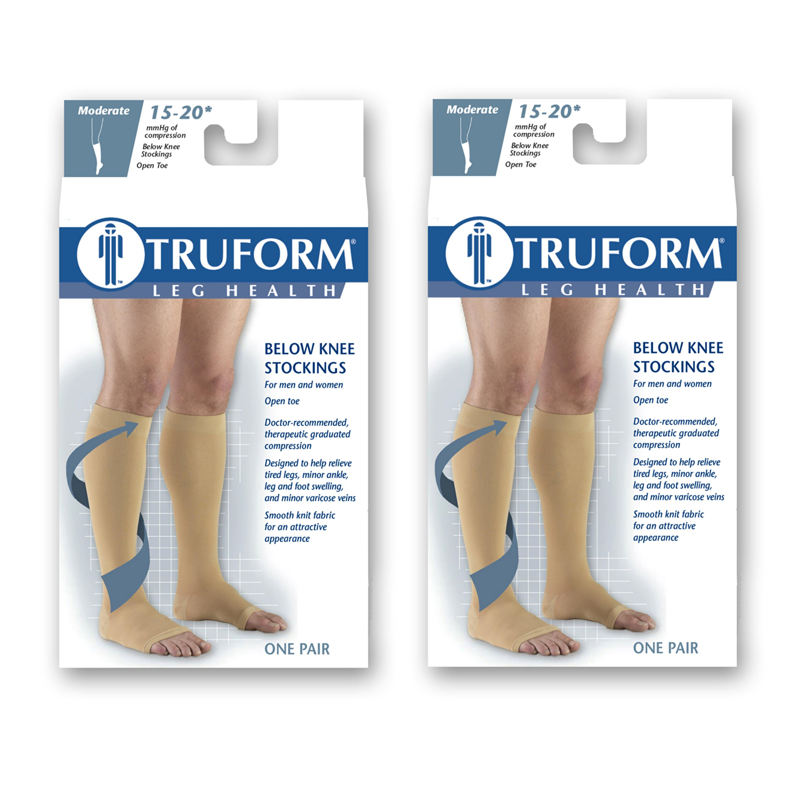 Truform Compression 15-20 mmHg Knee High Open Toe Stockings Black, Large, 2 Count