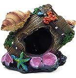 REALAQUA Resin Antique Bucket/Broken Barrel Aquarium Ornaments Decor with Shells and Starfish, Fish Tank Supplies Accessories for Home/Office, Multipurpose for Aquatic Creature Caves Hiding Shelter