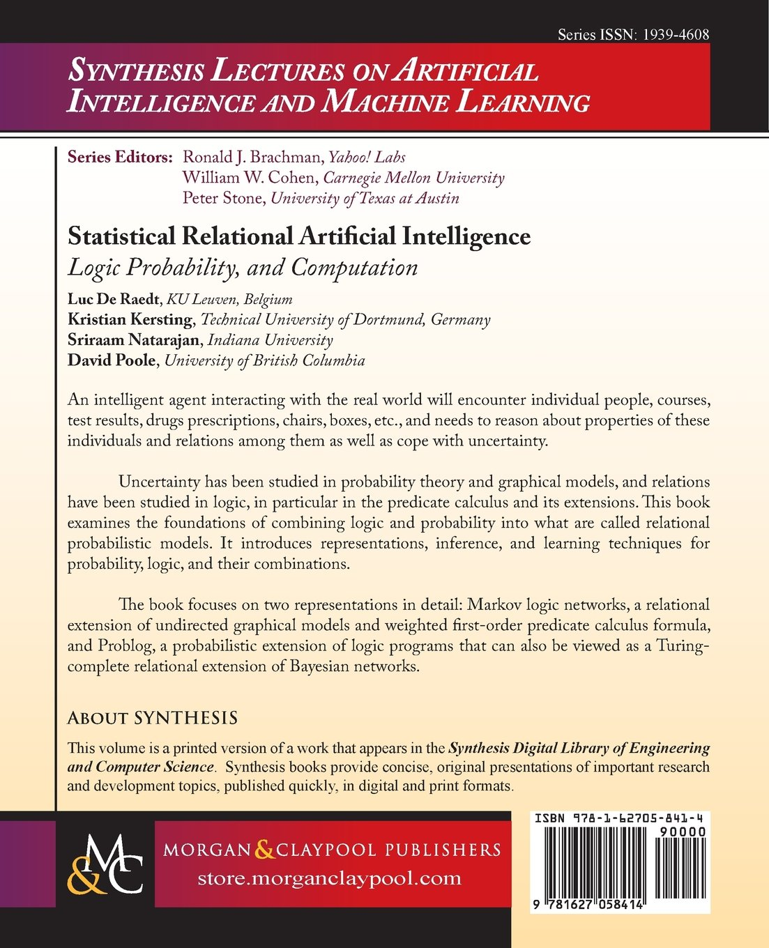 Statistical Relational Artificial Intelligence: Logic, Probability