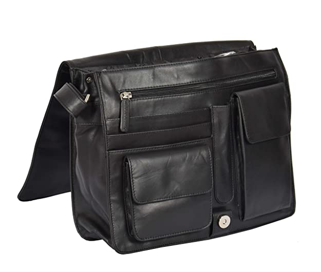 a971697a50 Working Womens BLACK Leather Shoulder Bag A4 Large Messenger Cross body Bag  - A53  Amazon.co.uk  Shoes   Bags