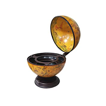 Merske Turin Italian Style Tabletop Globe Bar, 16 1/2 Inch Diameter