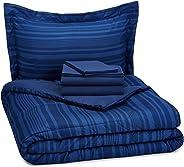 Amazon Basics Juego de sábanas de 5 Piezas para Cama Individual/Individual Extragrande, Azul Rey Rayado
