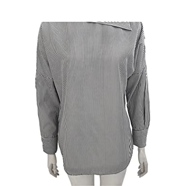396d8370988 Image Unavailable. Image not available for. Color: Women Striped Blouse  Long Sleeve Off Shoulder Pullover Shirt Bat Sleeve Blue Black Blouses  Shirts Tops