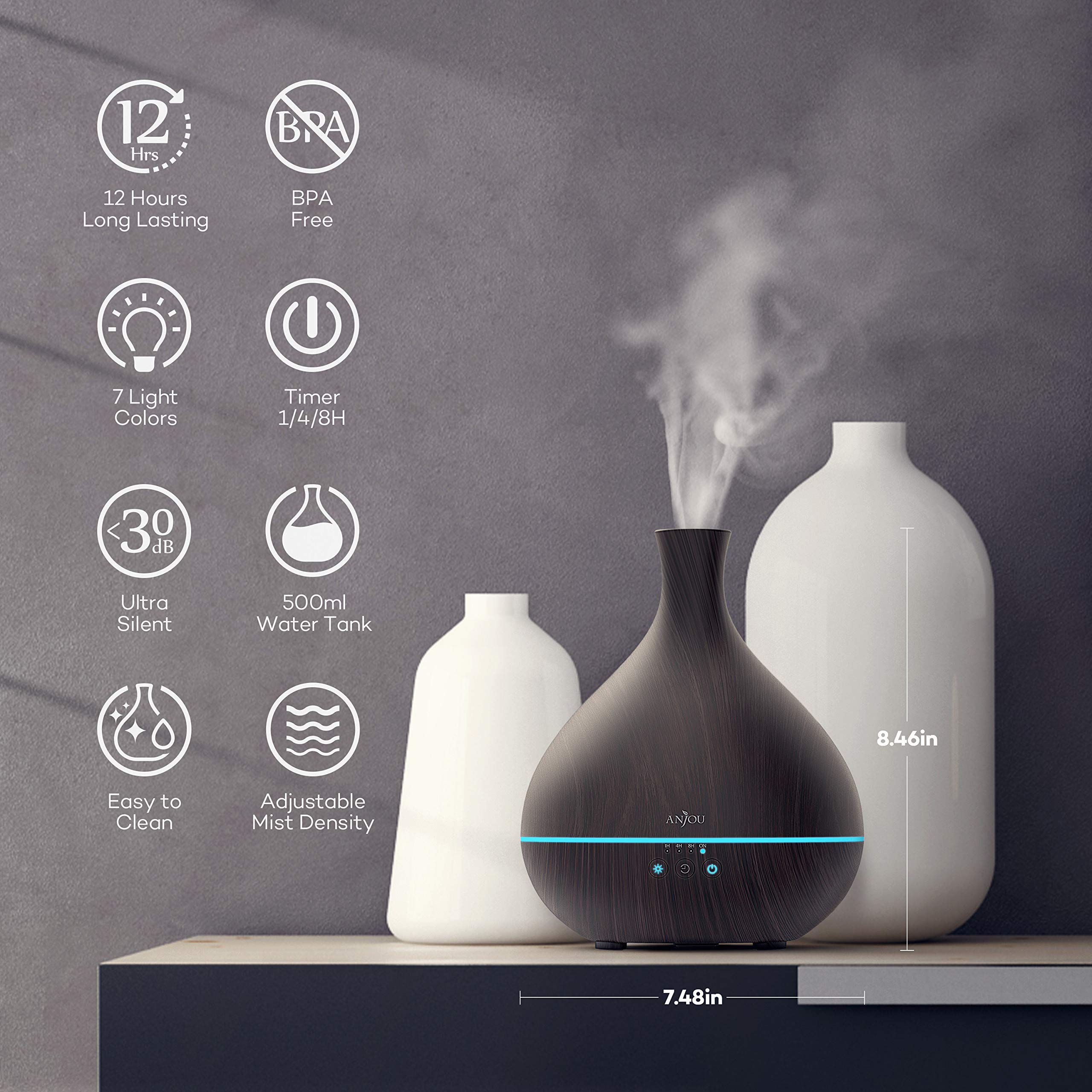 Essential Oil Diffuser,Anjou 500ml Cool Mist Humidifier,One Fill for 12hrs Consistent Scent & Aromatherapy, World's First Diffuser with Patented Oil Flow System for Home & Office