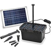 Esotec 100901 - Juego completo de filtro solar para estanque (650 l/h de caudal y módulo solar de 12 W, juego completo para estanques de hasta 2000 l, con juego de agua decorativo)