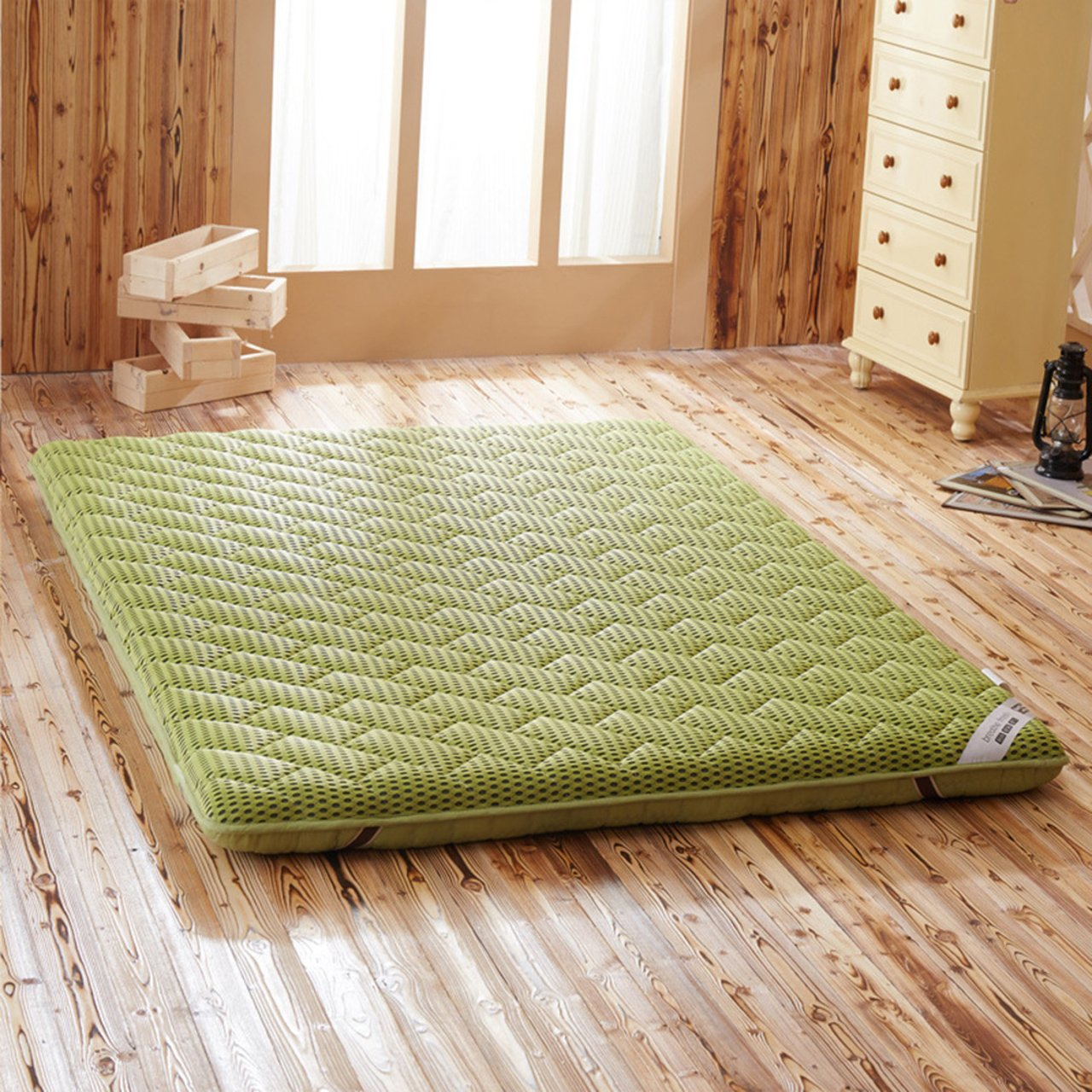 Yellow star Student dorm mattress,Breathable tatami floor mat double futon mattress topper portable sleeping pad non-slip foldable cushion mats-B 90x200cm(35x79inch)