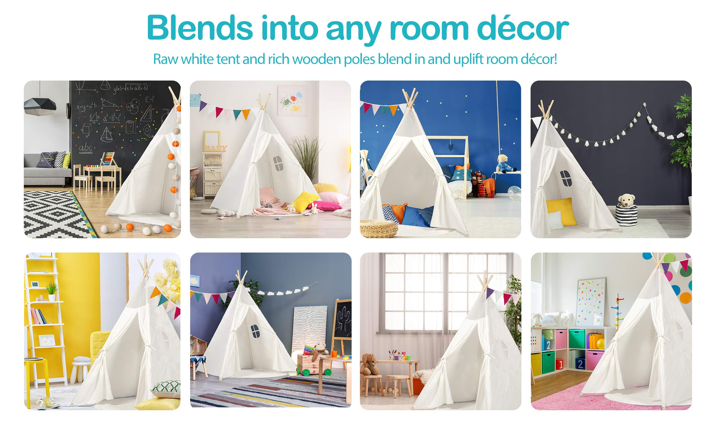 Kids Teepee Tent Children Play Tent 5 ft Raw White Cotton Canvas Four Wooden Poles Thick Cushion Mat LED Light Banner Carry Case Indoor Outdoor Playhouse for Girls and Boys Childrens Room Decor by flybold (Image #8)
