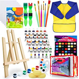 Deluxe Paint Set for Kids, Non-Toxic Toddler Paint Kit with Table Top Easel, Smock, and Drawing Board, Sponge Brushes, Acrylic Canvas Painting for Early Education and Home Activity(24 colors12ml)