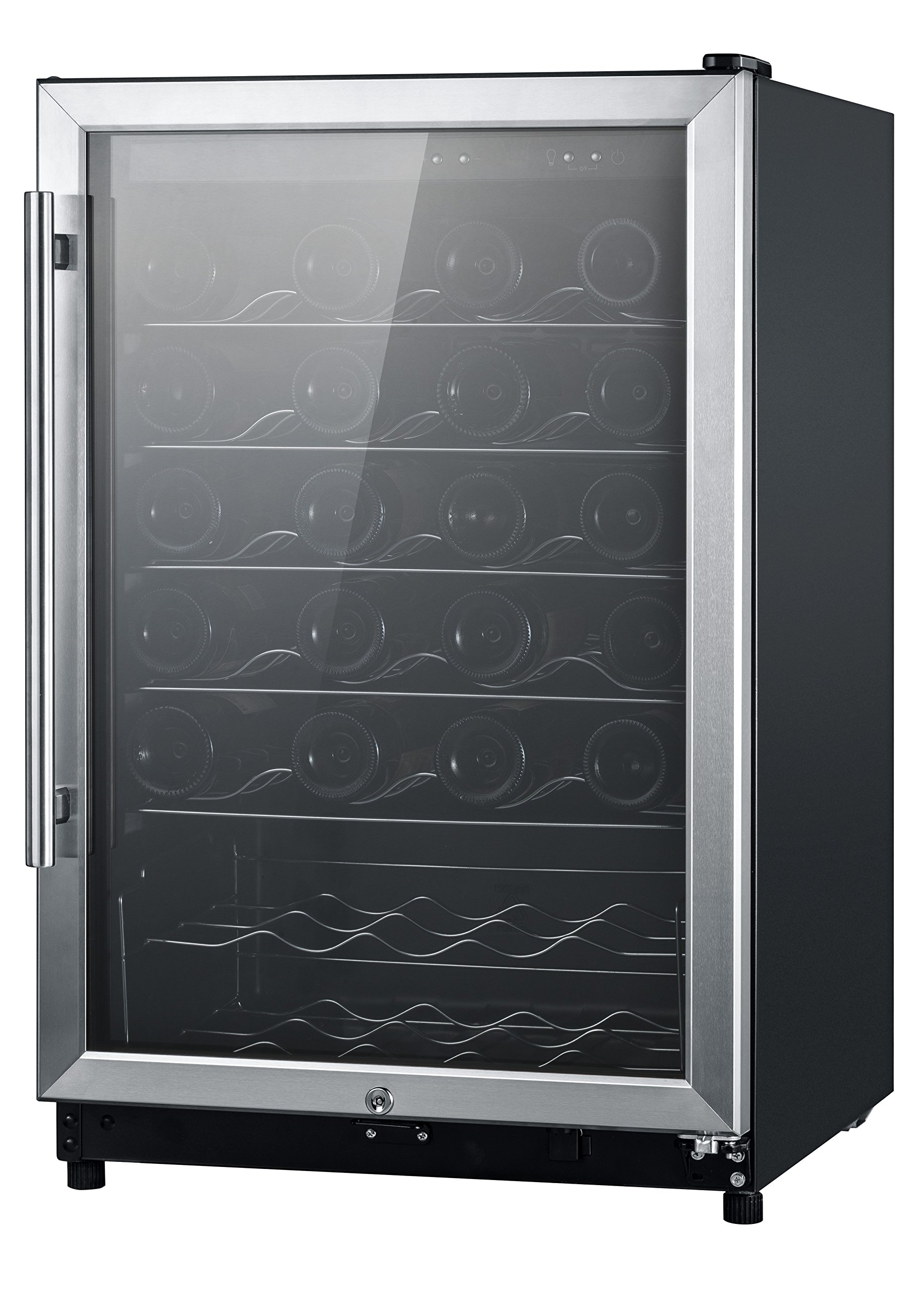 Midea WHS-168WES1 45-Bottle Free Standing Wine Cooler, Wood Shelves, Black with Stainless Steel Door by MIDEA
