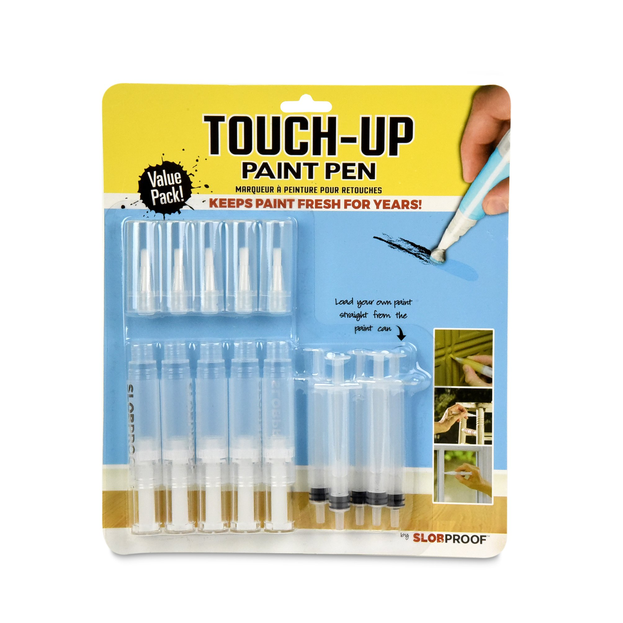 Slobproof Touch-Up Paint Pen   Fills with Any Paint for Color-Matched Touch Ups to Scuffed Walls and Trim   Keeps Paint Fresh Inside for At Least Seven Years   Includes Two Fine Brush-Tips, 5-Pack