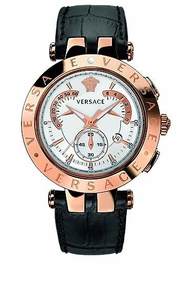 Versace V-Race 23C80D002S009 - Reloj cronógrafo de cuarzo para hombre, correa de cuero