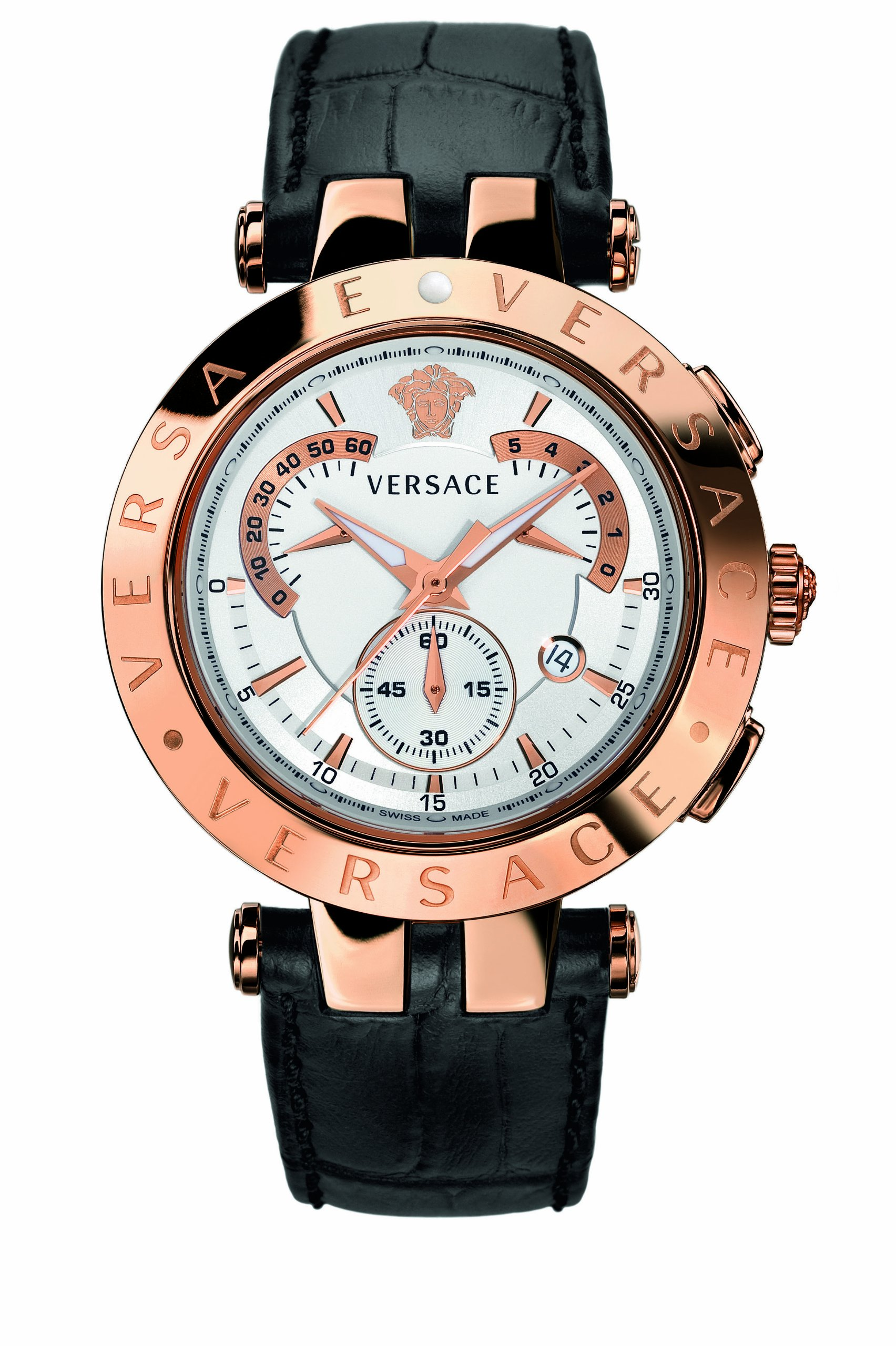 Versace Men's 23C80D002 S009 ''V-Race'' Rose Gold-Plated Watch with Black Leather Band by Versace (Image #2)
