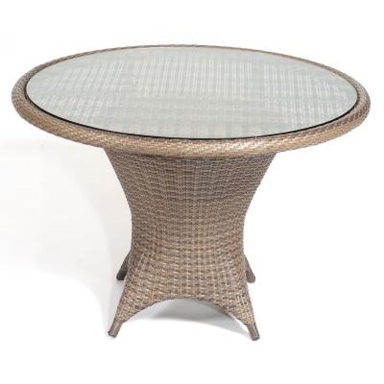 Sonnenpartner Gartentisch Glastisch Bonaire ø 90 cm cappuccino 80080076