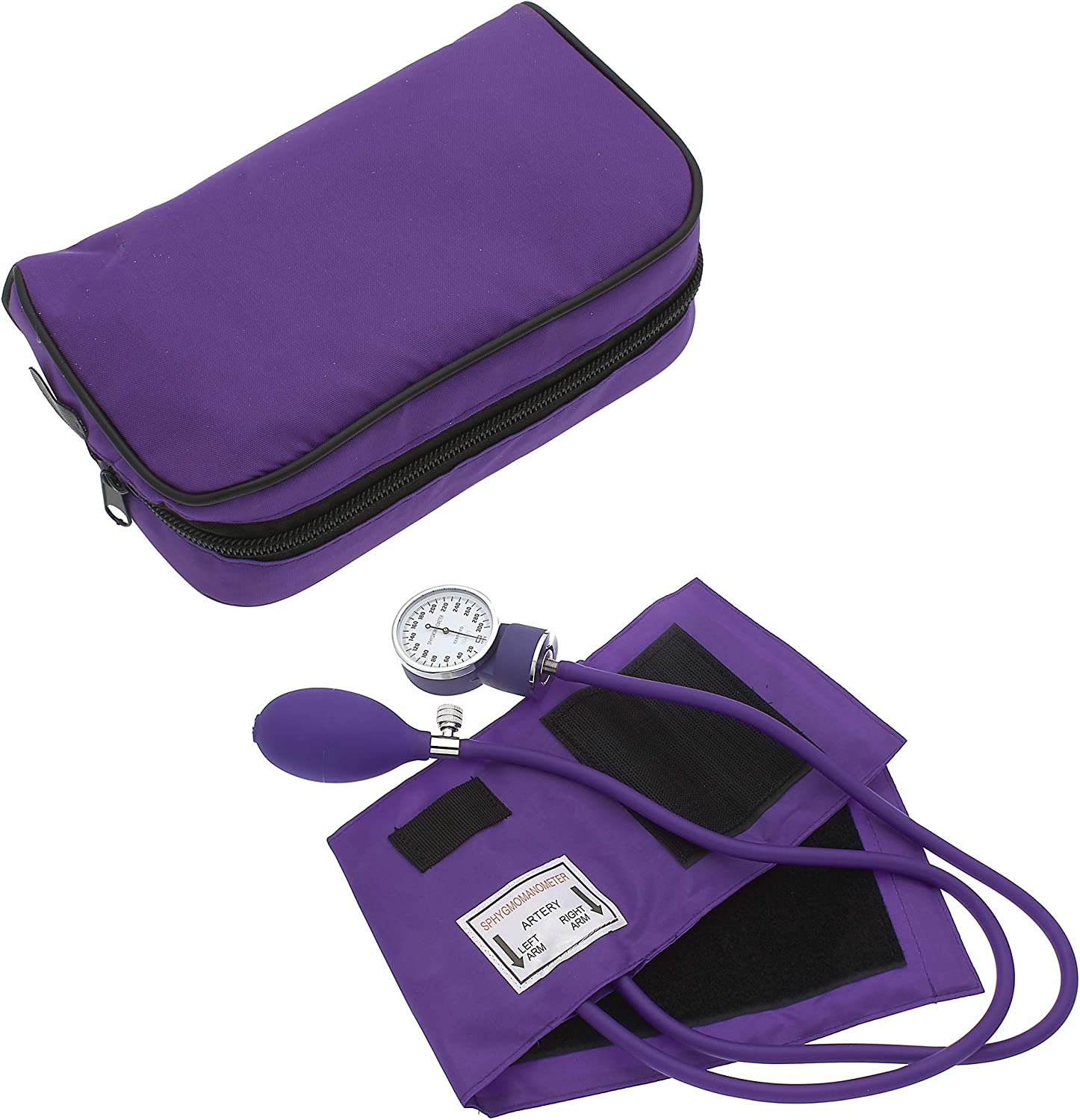 Manual Blood Pressure Monitor BP Cuff Gauge Aneroid Sphygmomanometer Machine Kit (Purple)