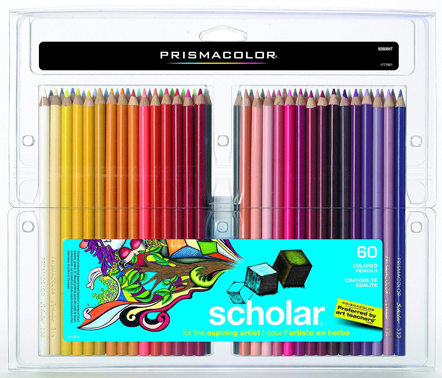 Prismacolor 92808HT Scholar 60 (1 Pack of 60 Pencils) Colored Pencils; Soft, Smooth Leads Ideal for Blending and Shading; Hardened Cores Resist Breakage; Rich, Vibrantly Pigmented Colors Newell Rubbermaid 92808HT 1 Pack