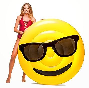 Floatie Kings - Flotador Emoticon Gafas DE Sol - TAMAÑO Gigante (caben 2 Adultos)