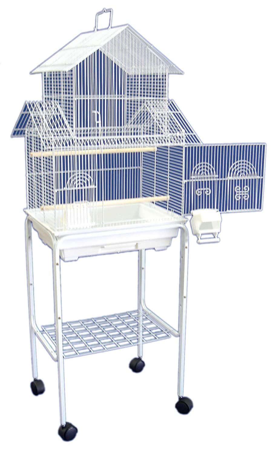YML 5844 3/8' Bar Spacing Pagoda Bird Cage with Stand 18 x 14/Small White YML GROUP INC 5844_4814WHT