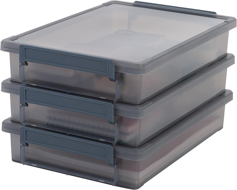 Iris Ohyama, lote de 3 cajas de almacenamiento para papel - Little Large Box - LLB-A4, plástico, gris, 4 L, 36,5 x 25 x 7 cm