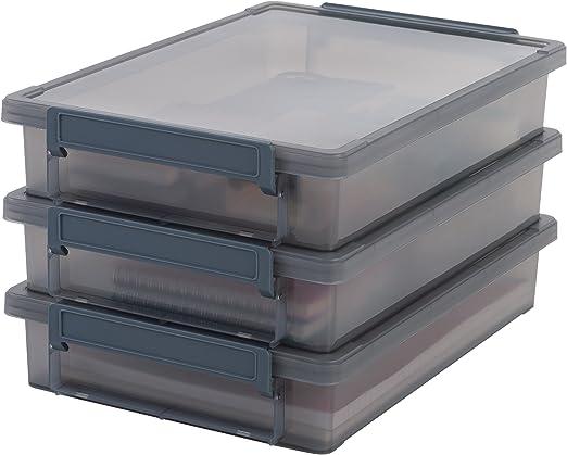 Iris Ohyama, lote de 3 cajas de almacenamiento para papel - Little Large Box - LLB-A4, plástico, gris, 4 L, 36,5 x 25 x 7 cm: Amazon.es: Hogar