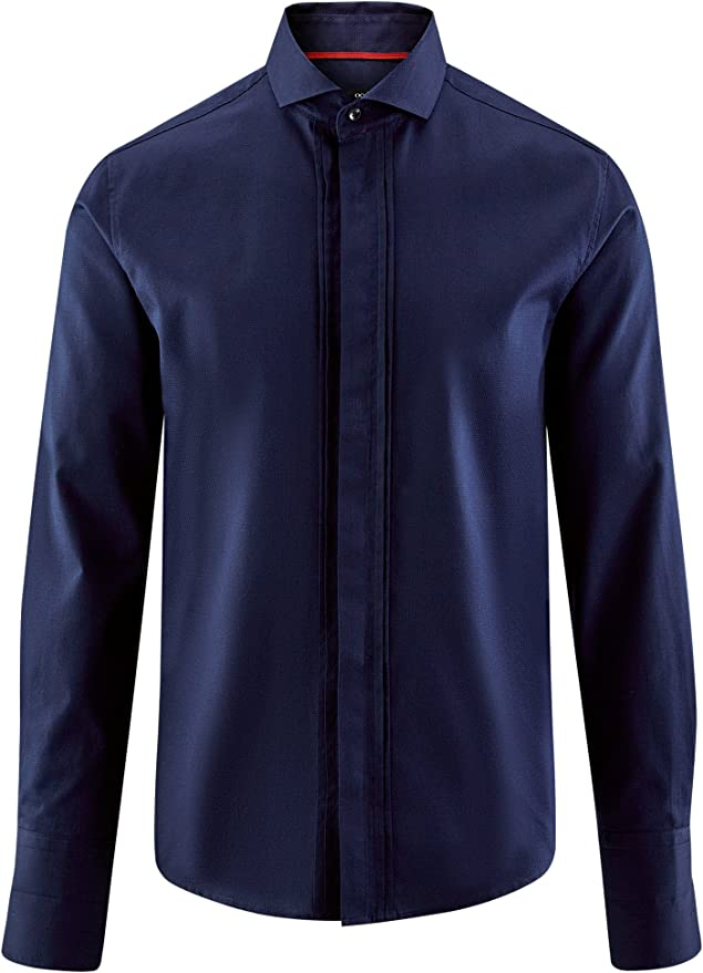 oodji Ultra Hombre Camisa Entallada con Puños para Gemelos: Amazon ...