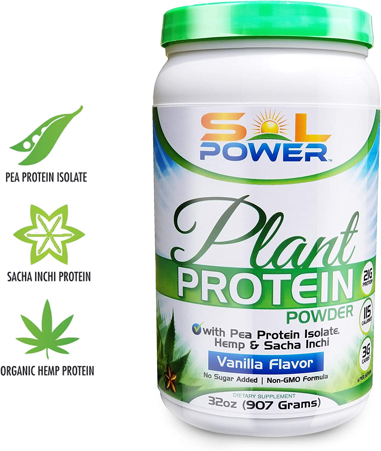 Organic Hemp Vegan Plant Protein Powder, SOL POWER, Vanilla with Spirulina, Sacha Inchi, and Pea Isolate for Healthy Digestion Staying Young Non-GMO