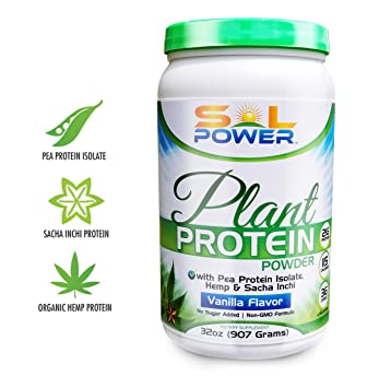 Organic Hemp Vegan Plant Protein Powder, SOL POWER, Vanilla with Spirulina, Sacha Inchi
