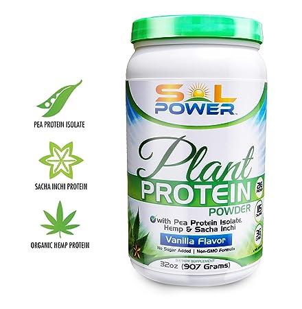 Organic Hemp Vegan Plant Protein Powder, SOL POWER, Vanilla with Spirulina, Sacha Inchi, and Pea Isolate for Healthy Digestion Non-GMO
