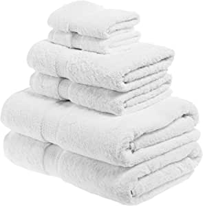 SUPERIOR Egyptian Cotton Solid Towel Set, 6PC, White