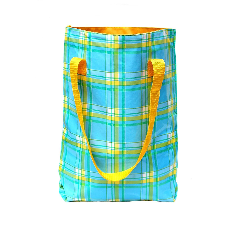 Ikuri - Bolso bandolera, bolso shopper mujer multicolor estampado, resistente al agua, impermeable, de hule, artesanal, modelo Escoces