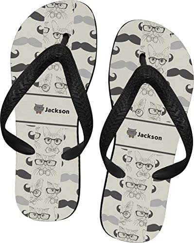 ec733524a2e720 RNK Shops Hipster Cats   Mustache Flip Flops - XSmall (Personalized) Grey