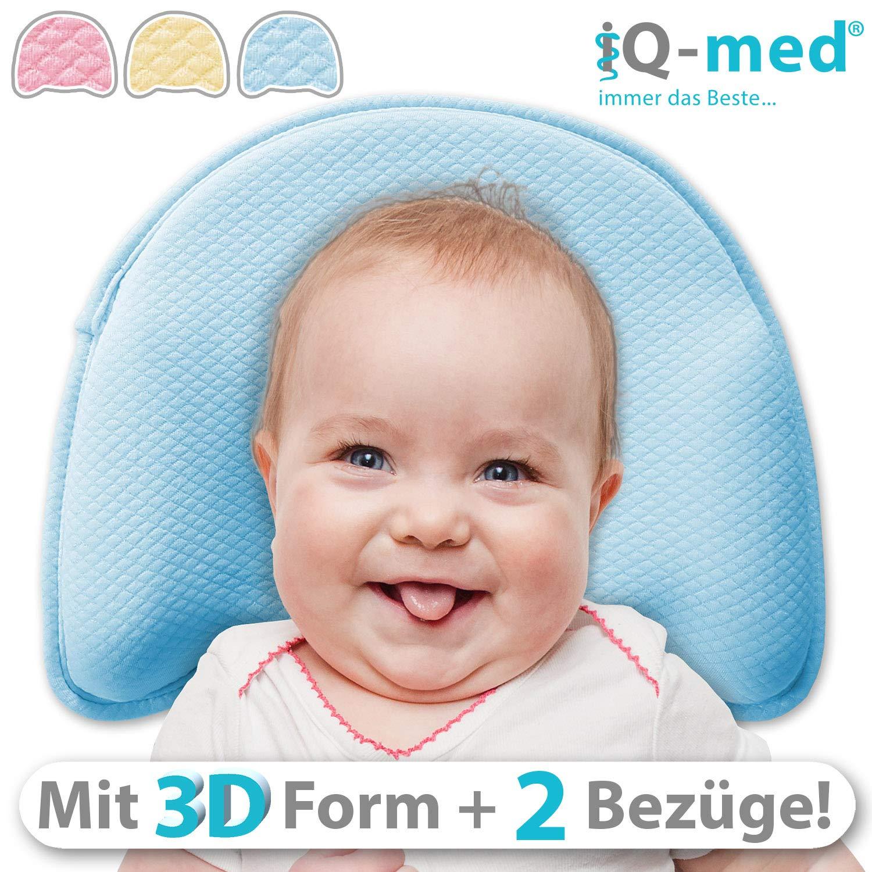 gegen Plattkopf und Verformung Blau mit 2 Bez/ügen Babykissen Premium von iQ-med