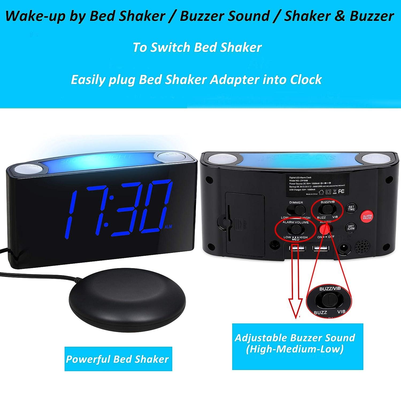 Loud Vibrating Alarm Clock Bed Shaker for Heavy Sleepers Deaf Seniors Kids, Bedrooms Home Kitchen Desk - Large Digital Display & Dimmer, Night Light, ...