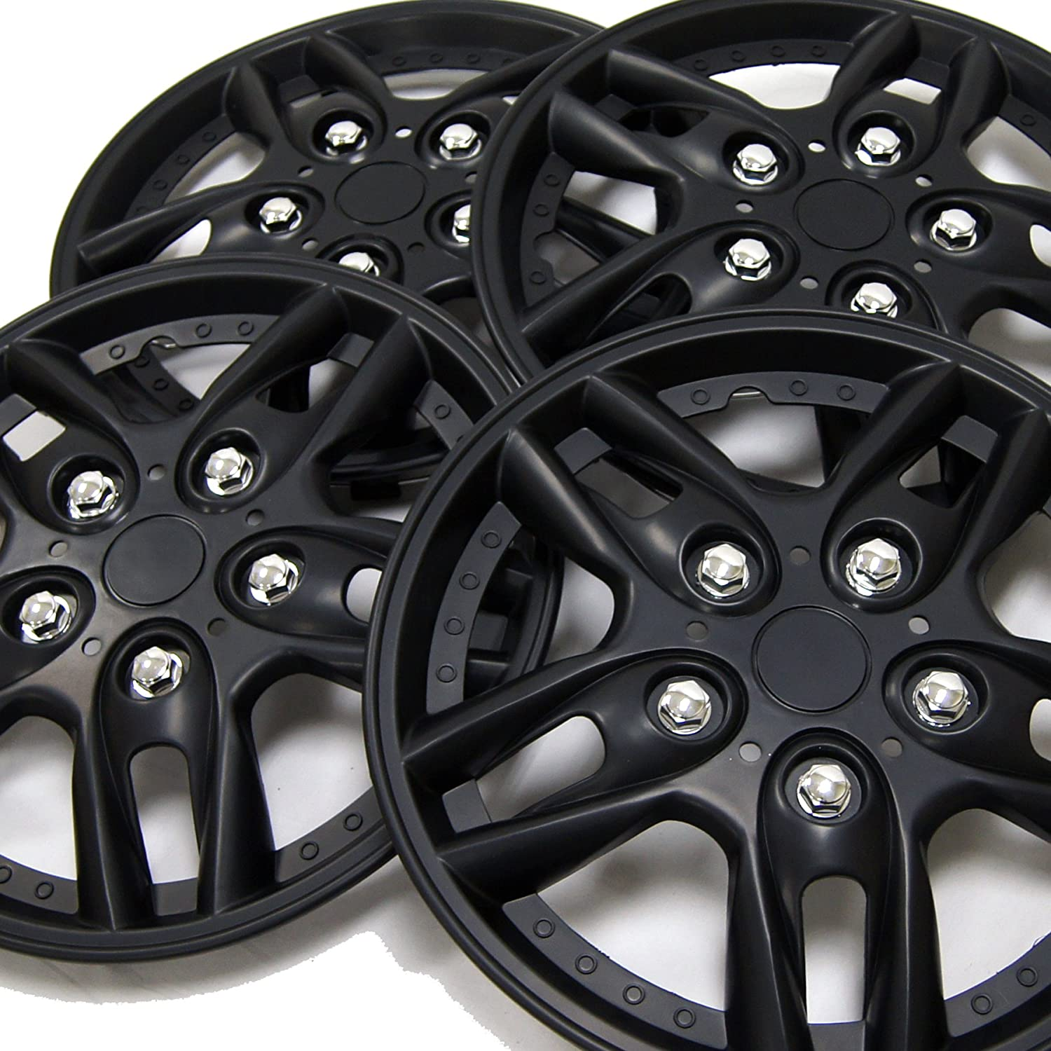TuningPros WC-15-515-B 15-Inches Pop On Type Improved Hubcaps Wheel Skin Cover Matte Black Set of 4
