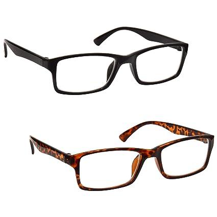 La Compañía Gafas De Lectura Negro Y Marrón Carey Lectores Valor Pack 2 Hombres Mujeres UVR2092BK_BR Dioptria +1,50
