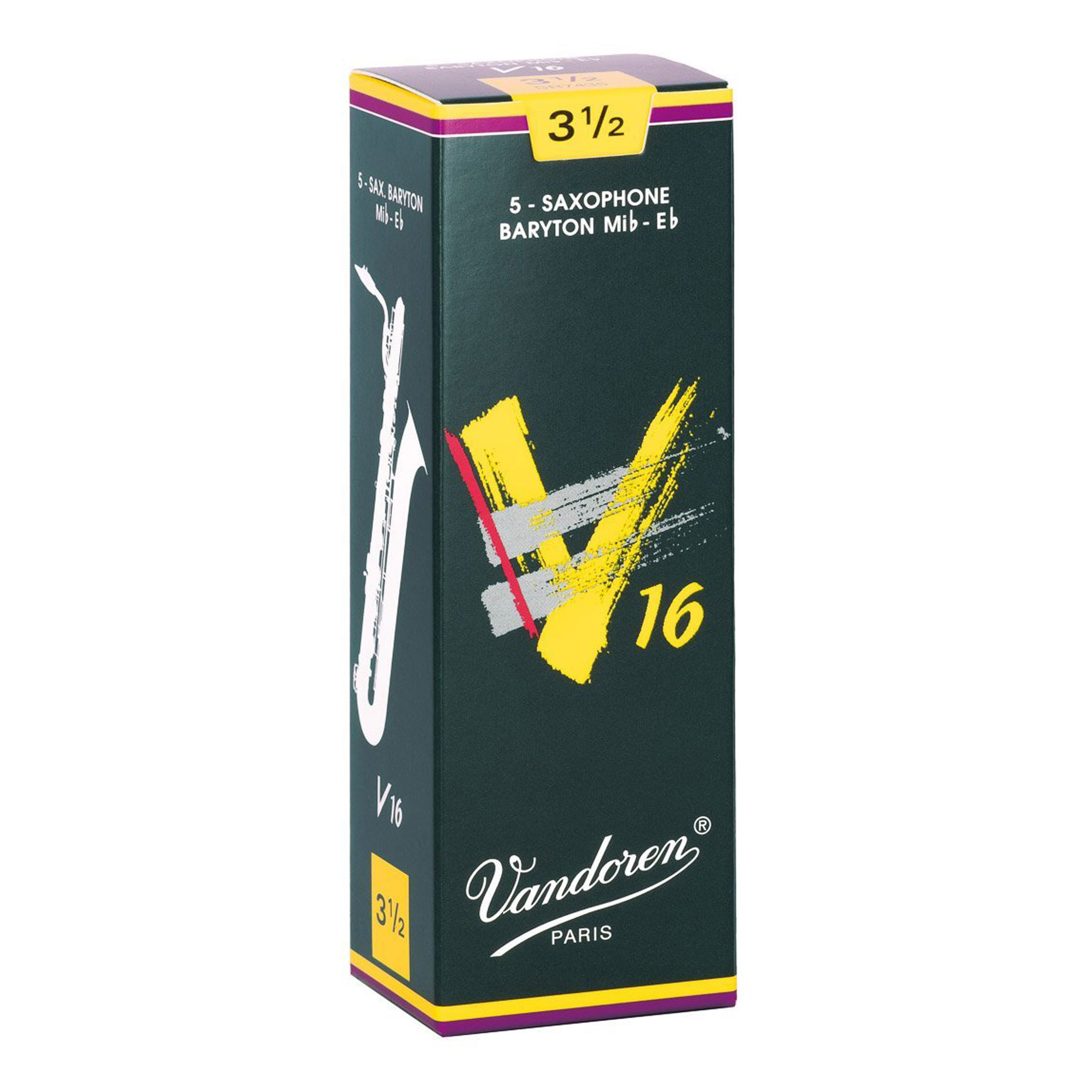 Vandoren SR7435 Baritone Sax V16 Strength 3.5, Box of 5 Reeds