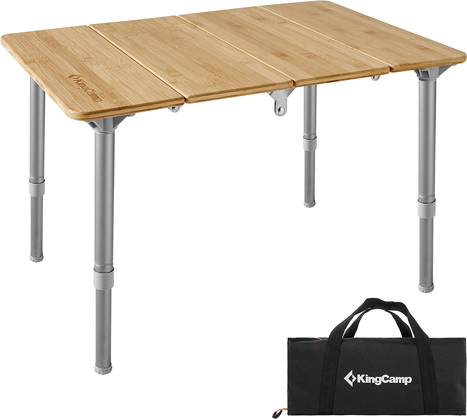 KingCamp Bamboo Folding Table Lightweight and Portable with Adjustable Height Aluminum Legs for Outdoor Camping Picnic Garden Or Indoor Home Furniture Table