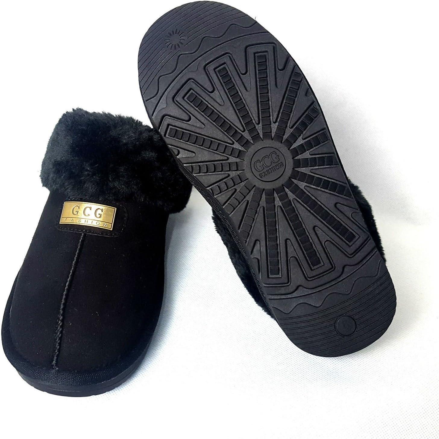 GCG Chaussons pour femme en imitation peau de mouton et semelle rigide antid/érapante Synth/étique noir 4