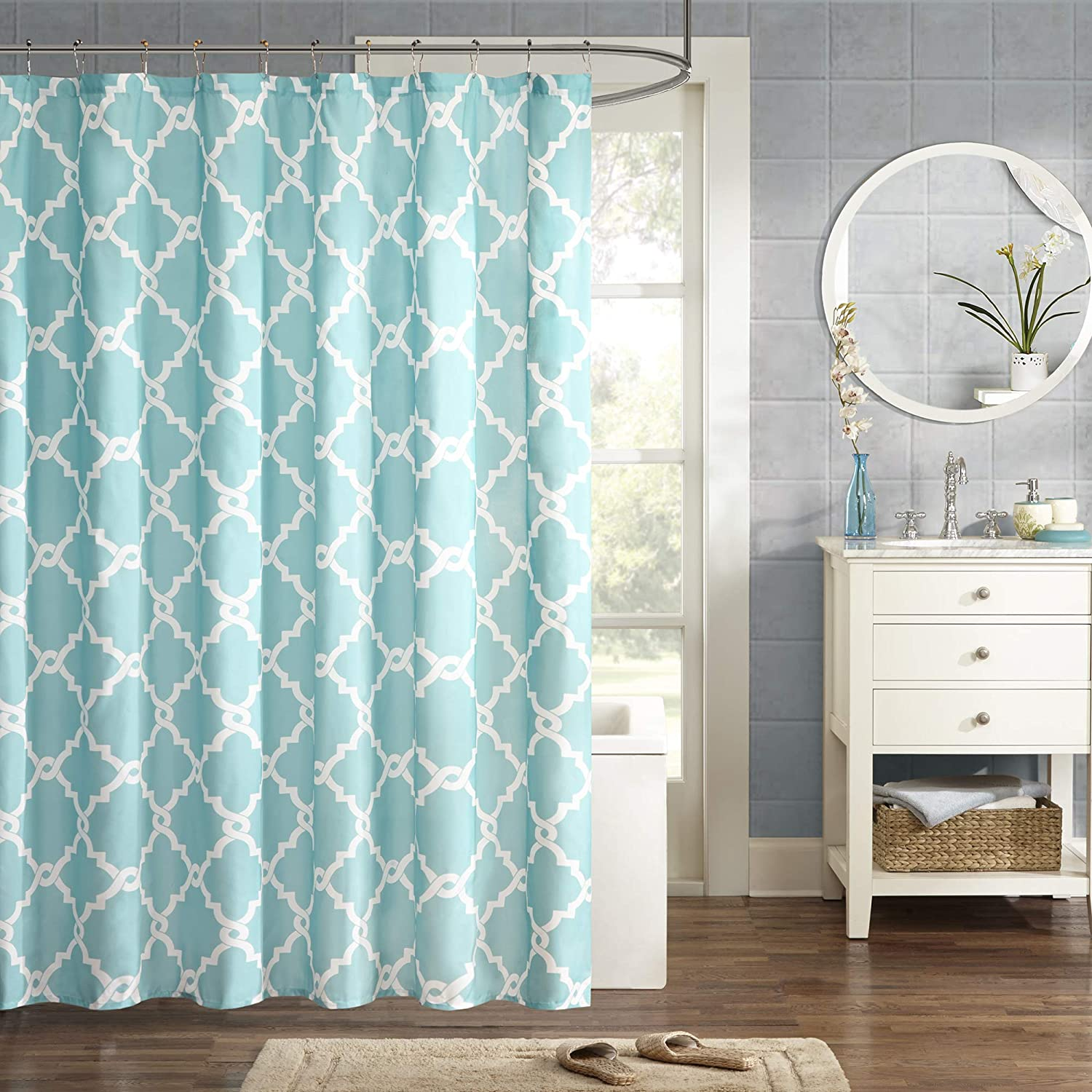 Light Teal and White Shower Curtain