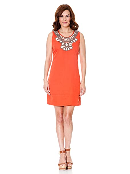 Cortefiel Vestido Lino Naranja L