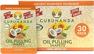 GURUNANDA Pulling Oil Oral Detox, Refreshing Ayurveda Blend- 30 snapets, 0.5 fl. oz. per snapet