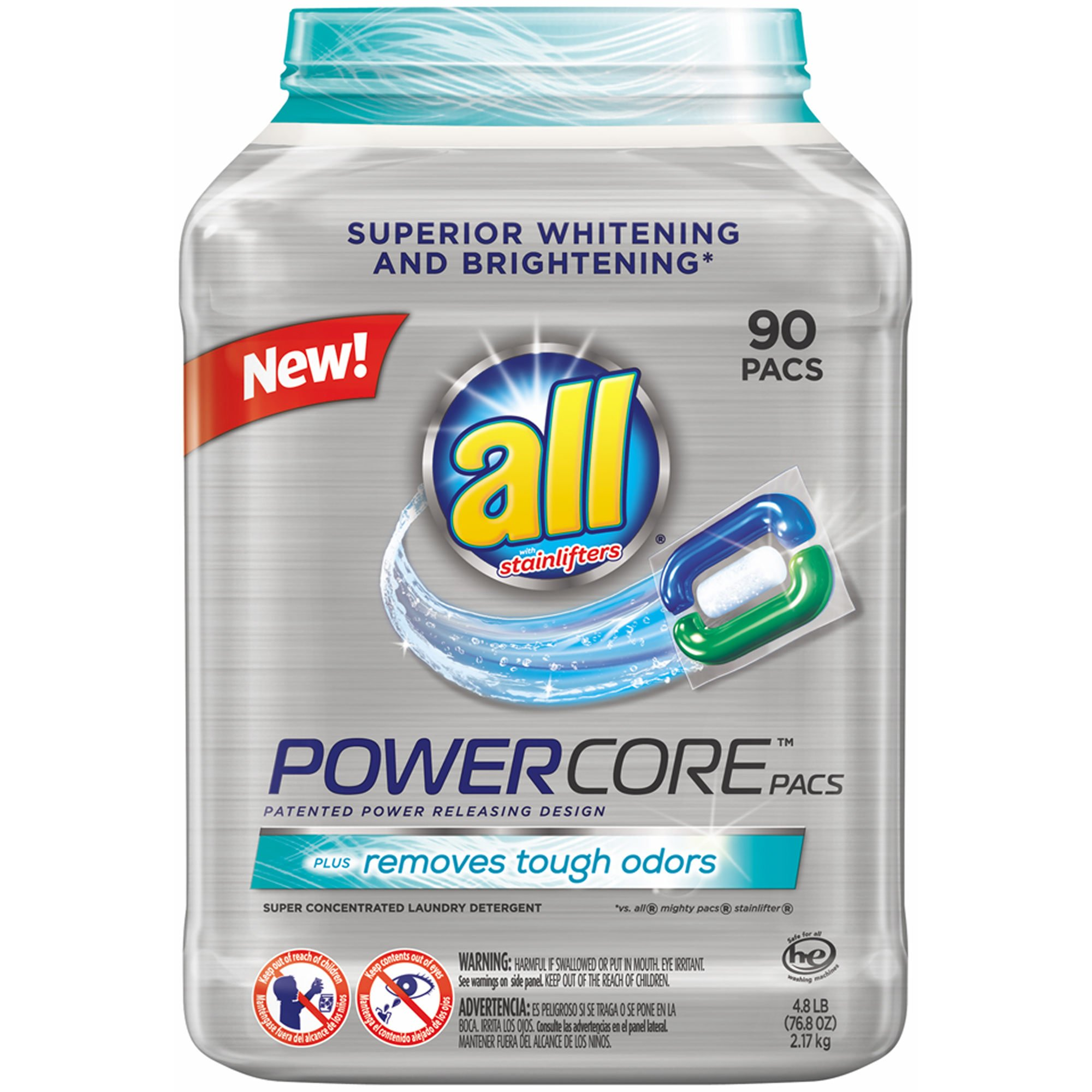 All Powercore Super Concentrated Laundry Detergent Pacs, 90 ct. (pack of 6)